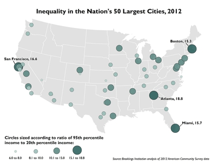 Income Inequality US cities 2012