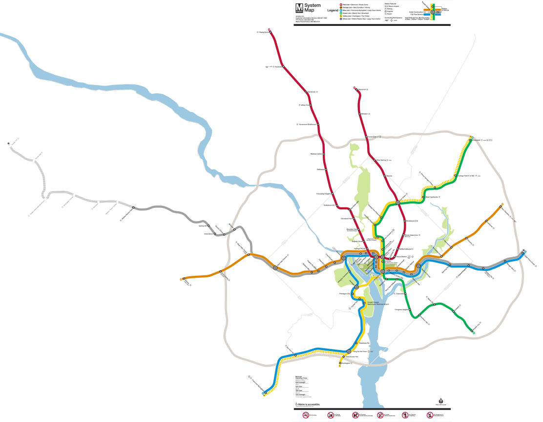 To scale Map of Washington, DC Metro | Design & Geography