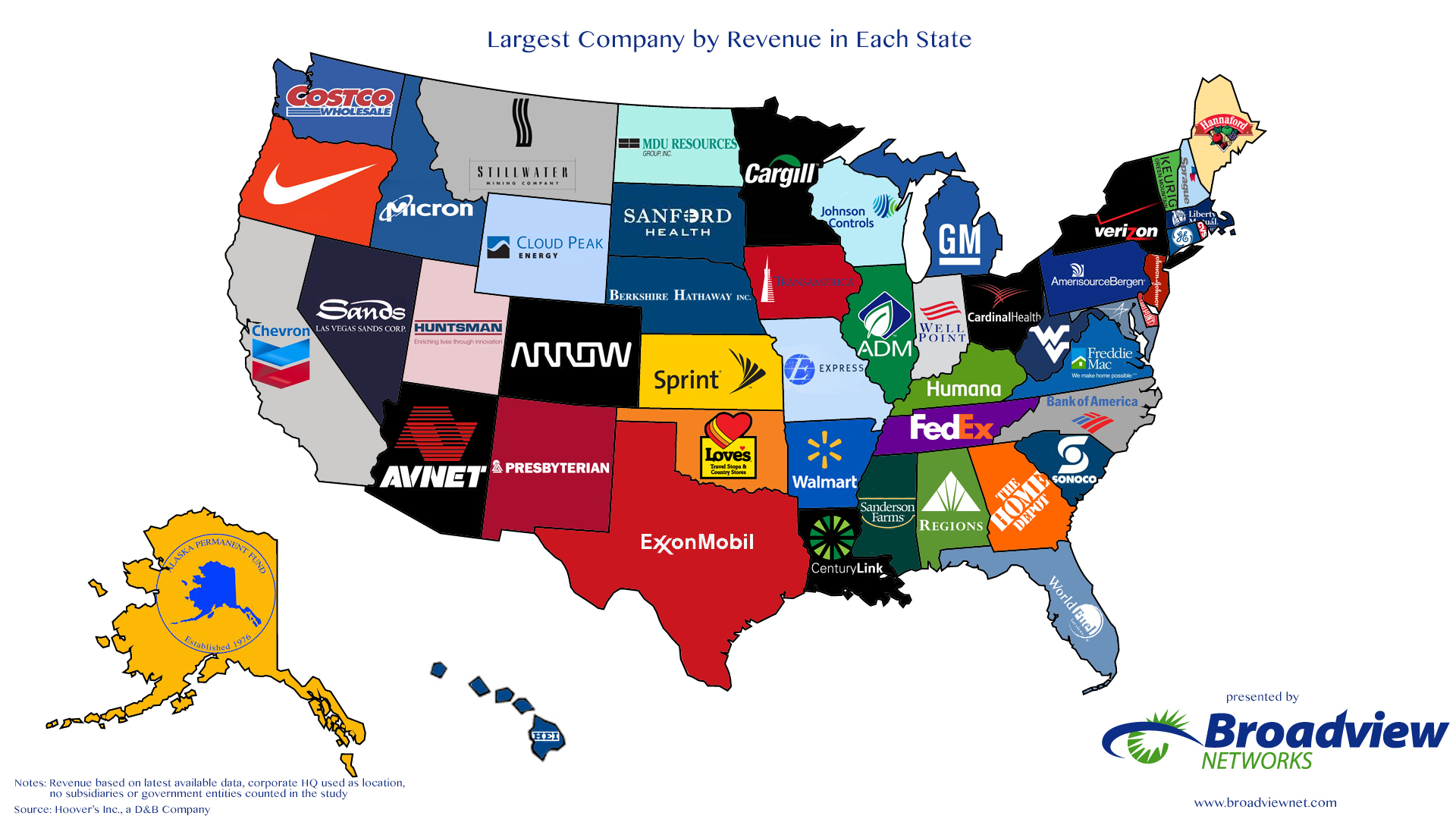 Interesting Map Of Largest Company By State By Revenue Design - Us gdp map by state